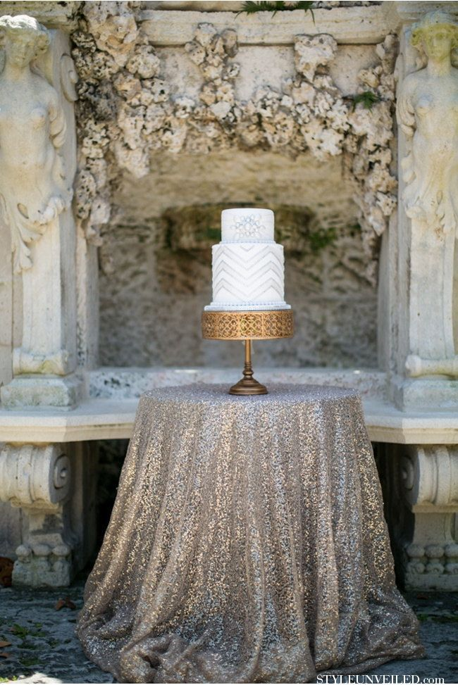 Silver Sequin Tablecloths & Table Runners//