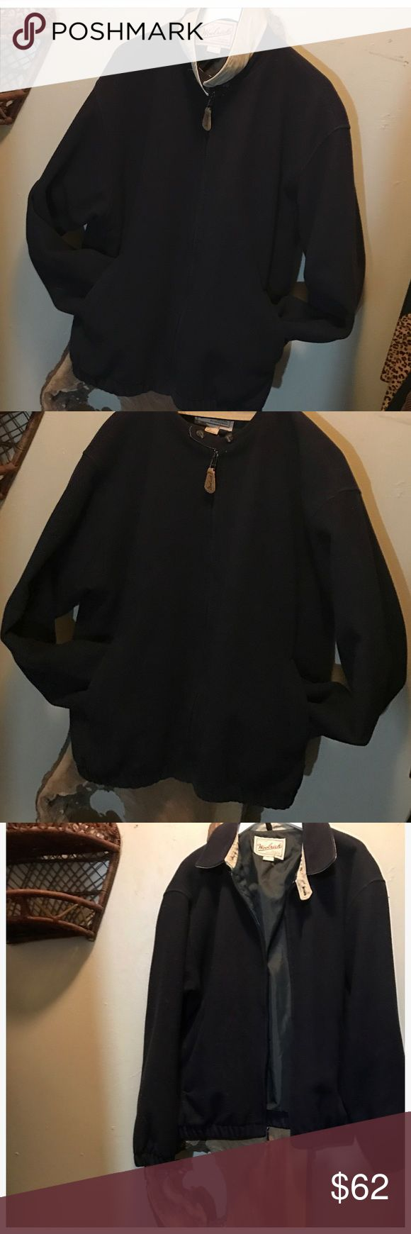 Vintage Woolrich 100% Wool Bomber Jacket Mint condition! Men's size Large. Features a hidden Zipper, khaki fold over collar, two snaps at the neck, pockets at the waist, rib knit sleeve cuffs and bottom hem, and a full satin lining. Quality, versatile and super warm jacket! Woolrich Jackets & Coats
