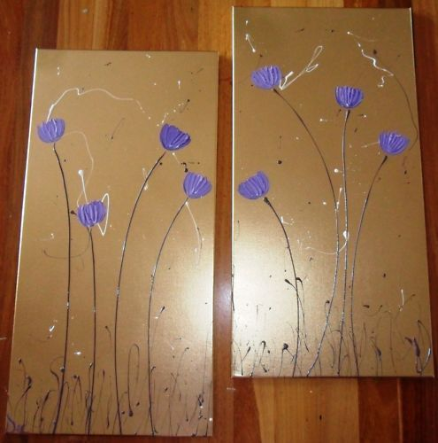 ORIGINAL-ABSTRACT-CANVAS-PAINTING-GOLD-PURPLE-POPPIES