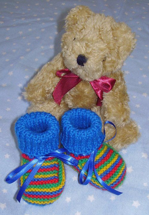 Traditional style booties for BOYS and girls. Handknitted by me. Available in different colours and designs - on website or FB page. Butterfly Babywear Boutique.