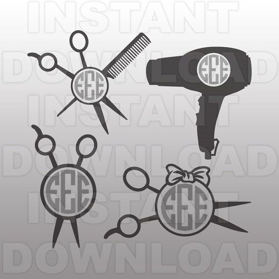 Hairdresser SVG File,Cosmetology SVG,Monogram Cutting Template-Vector Clip Art for Commercial & Personal Use-Cricut,Cameo,Vinyl,Silhouette