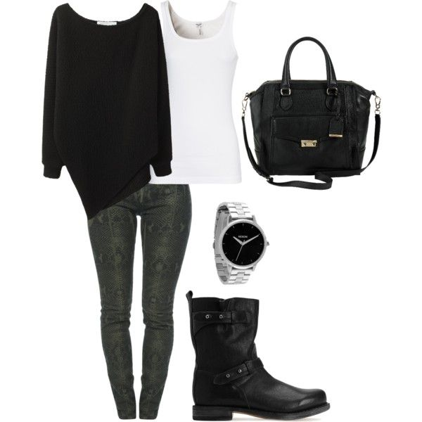 """""""Snakeskin Jegging Outfit"""" by thieli02 on Polyvore"""