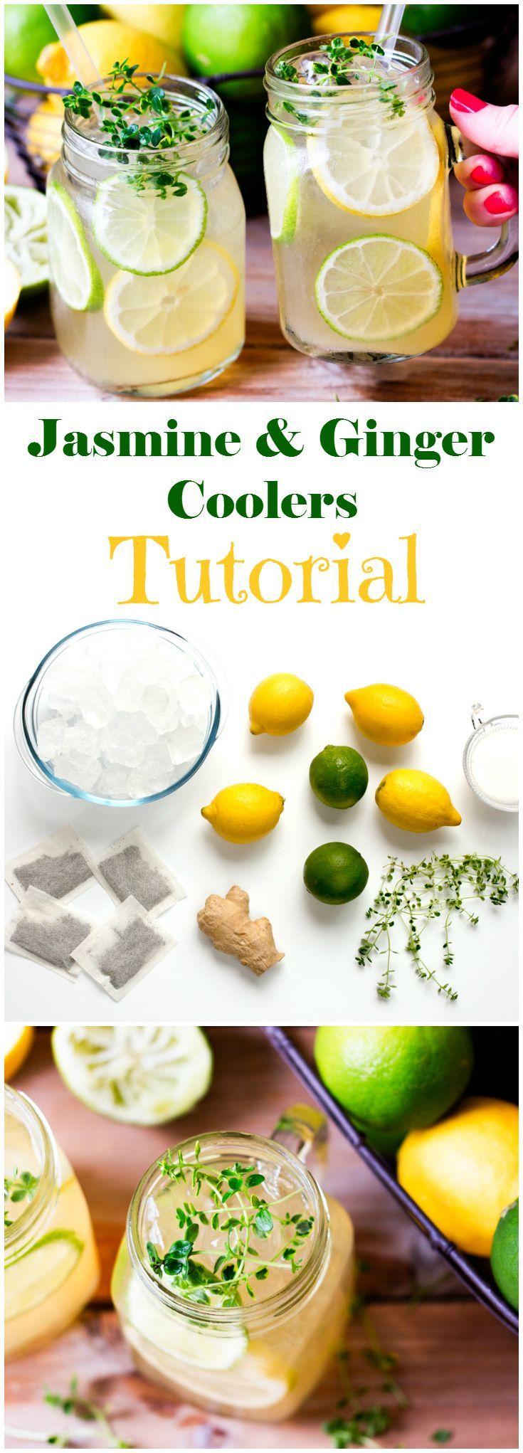 Zesty and refreshing ginger, jasmine and lemon thyme iced tea