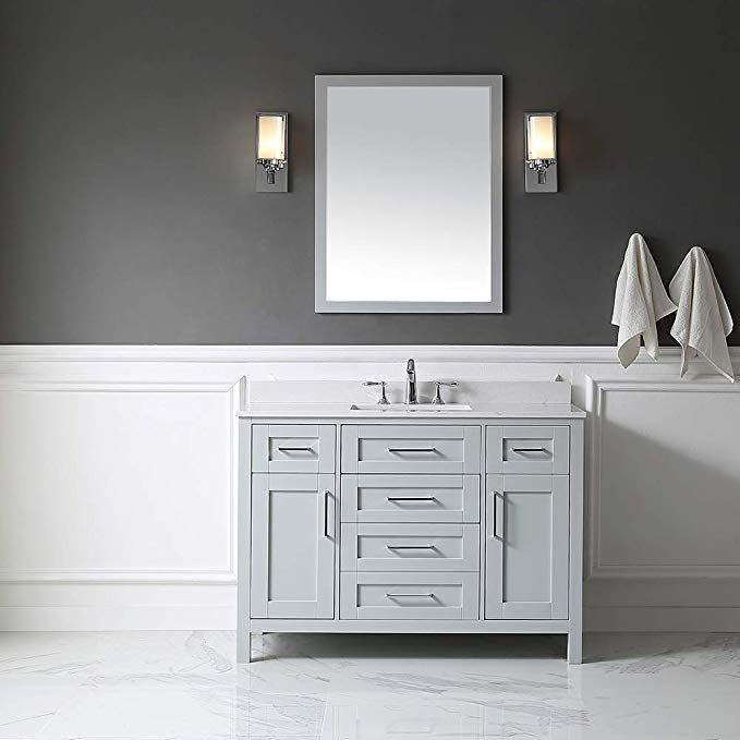 Ove Decors Maya 48 White Single Sink Vanity With Marble Top