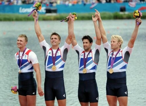 Alex Gregory, Tom James, Pete Reed and Andrew Triggs-Hodge win gold for Great Britain.
