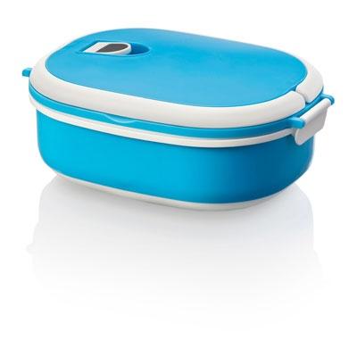 Boîte Alimentaire- Tarifs sur devis (contact@objetpubenligne.com) -  TO1078359 Boite repas. Cette boite repas dispose de 2 poignées pour un transport facile et peut aller au micro-ondes. Volume 75 cl. Peut également aller au lave-vaisselle. Polypropylène avec gomme thermoplastique. Matière : Polypropylène avec gomme thermoplastique. Dimensions : 18,7 x 14,7 x 8 cm, 220 gr Marquage : Tampographie, 50 x 50 mm. Couleurs disponibles : Bleu/blanc, Vert/blanc