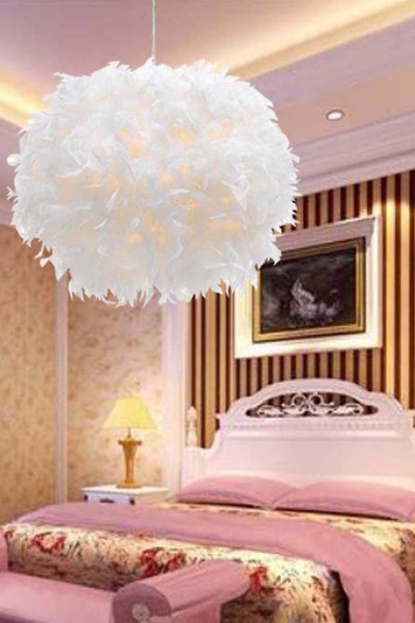 Girls Bedroom Light In 2020 Plug In Pendant Light White Pendant Light Feather Chandelier