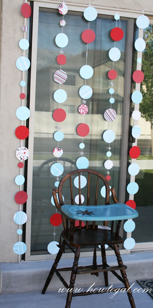 The How-To Gal: Hanging Red & Aqua Circle Decor