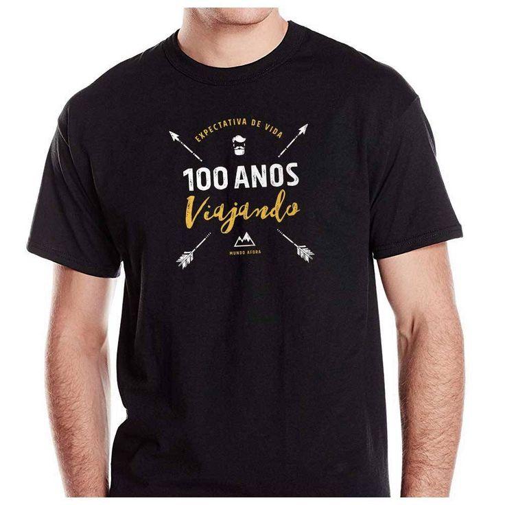 Camiseta Masculina Preta - Viajante - Expectativa de Vida - 100 Anos Viajando | Moda Viajante