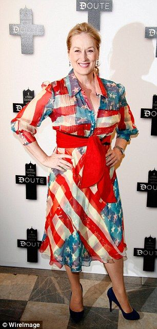 Meryl Streep has a patriotic moment in a same stars and stripes shirt dress...