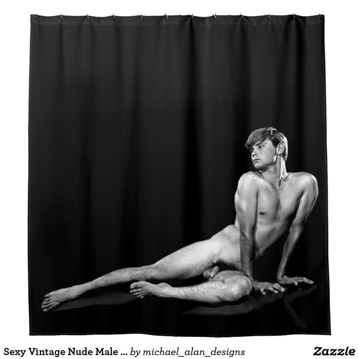Sexy Vintage Nude Male Black Shower Curtain