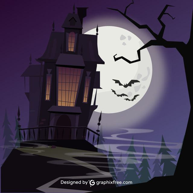 Halloween Sinister Castle - #moon #castle #sinister #halloween #background #tree #party #house #sky #grunge #silhouette #celebration #cross #holiday #night #fall #pumpkin #horror #bat #evil #scary #grave #terror