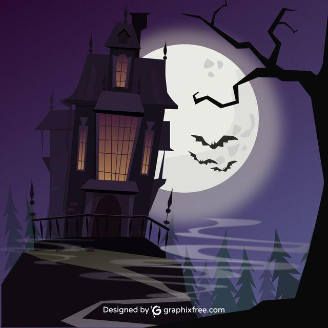 Halloween Sinister Castle - #moon #castle #sinister #halloween #background #tree #party #house #sky #grunge #silhouette #celebration #cross #holiday #night #fall #pumpkin #horror #bat #evil #scary #grave #terror