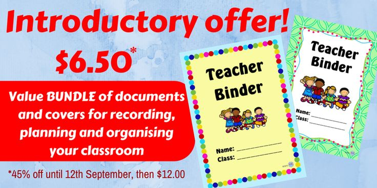 Introductory Offer! Limited Time Only! 45% off until 12th September! The Teacher Binder Bundle of Covers and Documents to get your Australian classroom organised, recording student data, behaviour management, professional development and meeting notes by KR Learning