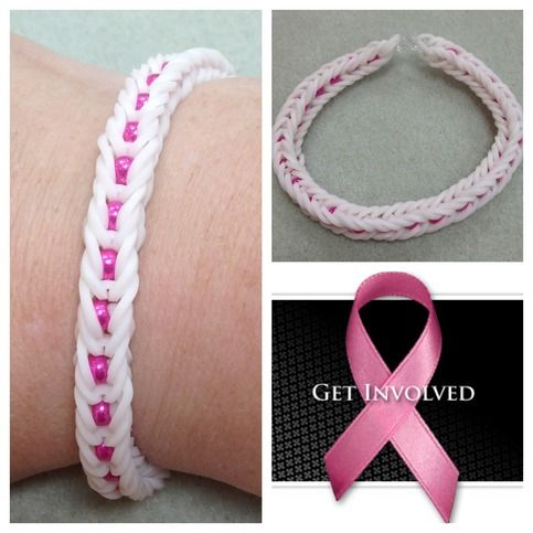 *For Charity* Rainbow loom white and hot pink fishtail pattern Breast Care Awareness bracelet - donating profit
