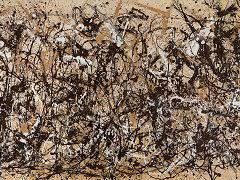 This painting is the 1950 Autumn Rhythm by Jackson Pollock. It was created by many types of dripping and pouring, and other more unusual types such as using a trowel and sticks. There is no focal point, the composition is the paint is spread over the whole canvas, and each part of the canvas is equally significant.