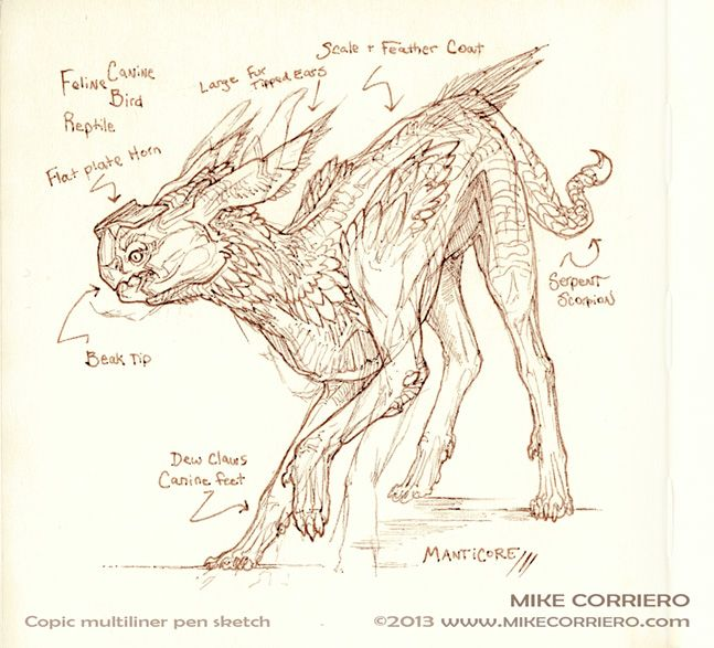 Manticore Sketch by MIKECORRIERO.deviantart.com on @deviantART