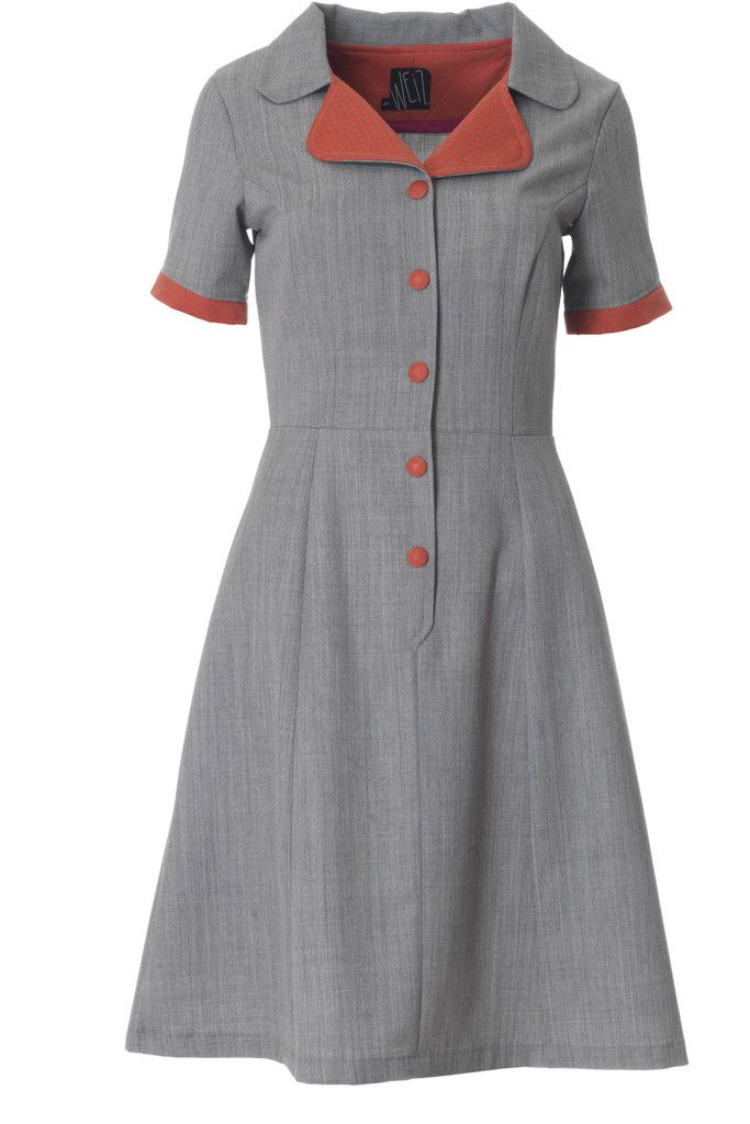 Weiz just loves the retro look, and this grey Loretta dress has it all. The dotted collar and buttons gives a perfect contrast to the grey wool.