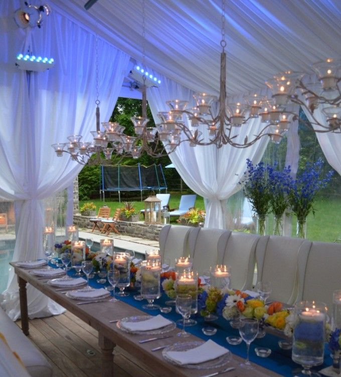 239 best party decor ideas images on pinterest for Outdoor party tent decorating ideas