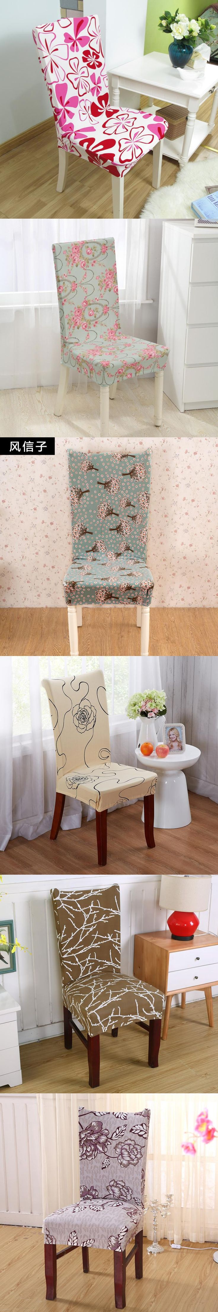 1 Piece Printing Polyester Spandex Party Chair Covers Gold Elastic Dining Chair Cover For Wedding Banquet Hotel Chair Covers V20