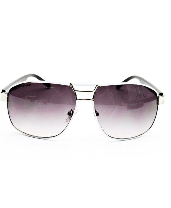 ecd1db0ac0 D990-CC Metal Aviator Sunglasses - O2938B White Silver Black ...