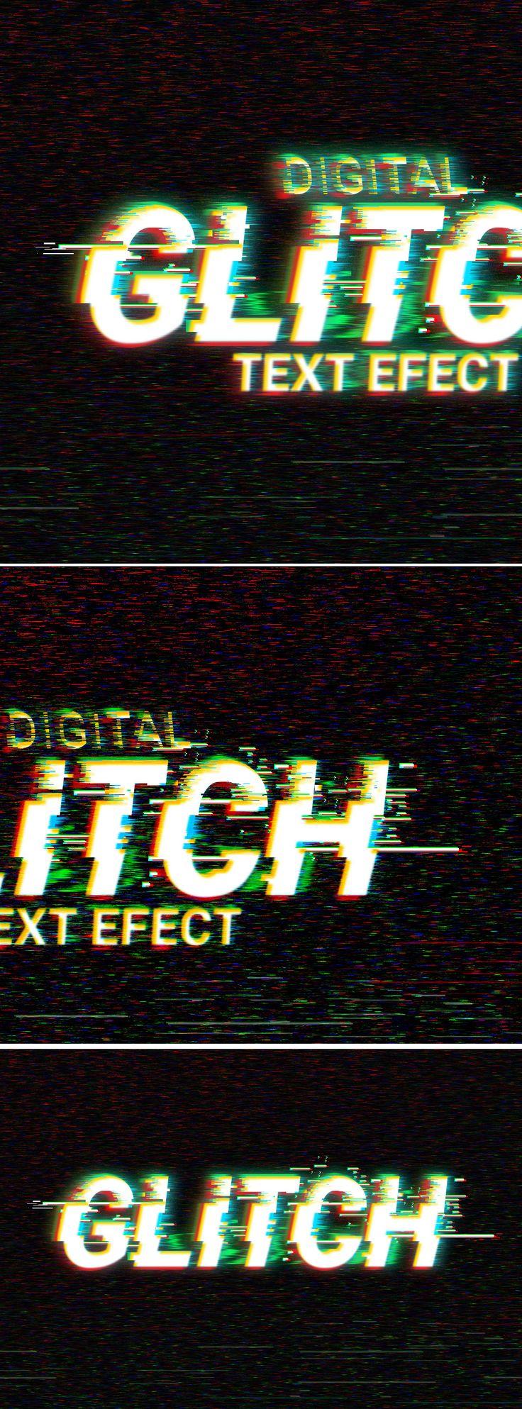 Digital Glitch #TextEffect #PSD