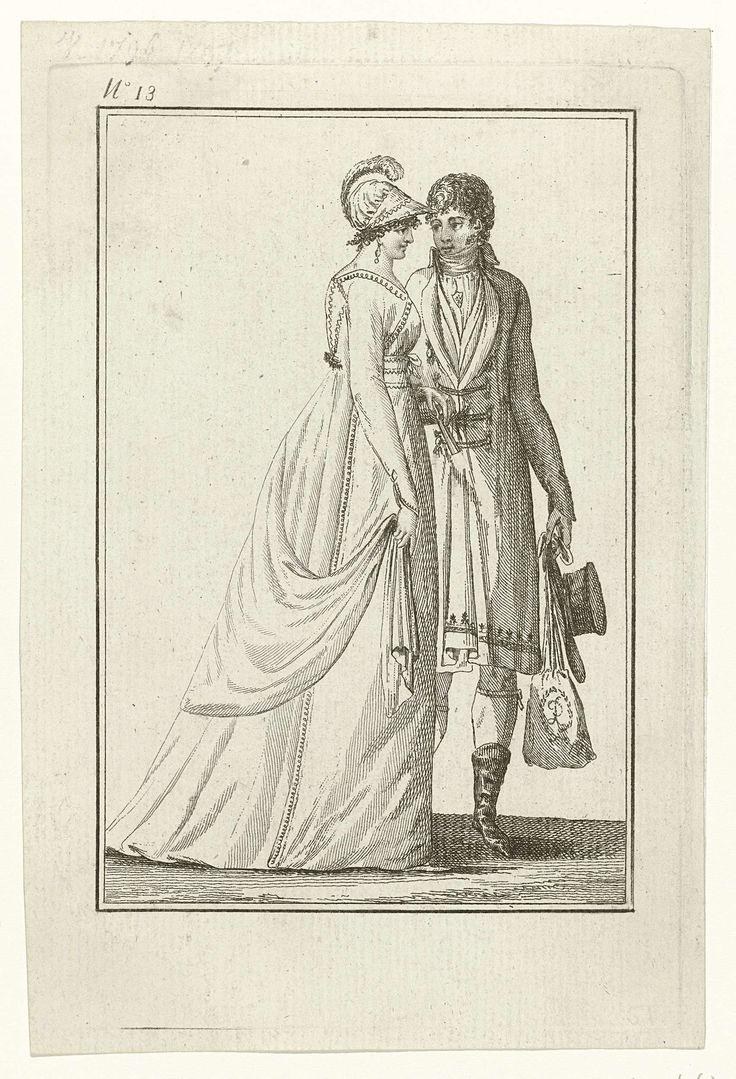 Tableau Général du Goût, An 7, No. 13 (21 dec. 1798): Couple amoureux à la promenade, Laurent Guyot, 1798