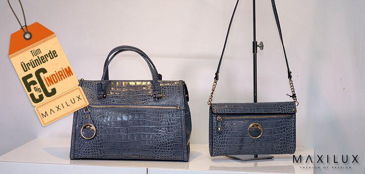 %50 indirim ve mavinin tonları ile stilinizde gökyüzü ferahlığı! #Maxilux #Marka #Moda #Çanta #Fashion #Brand #Bag