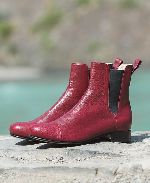Featured here are our Poppy Barley all-leather, custom fit, women's Chelsea Boot in Marsala red. Made-to-Measure in sizes 5-12 and made to fit narrow, standard or wide feet | PB Fall15 Lookbook