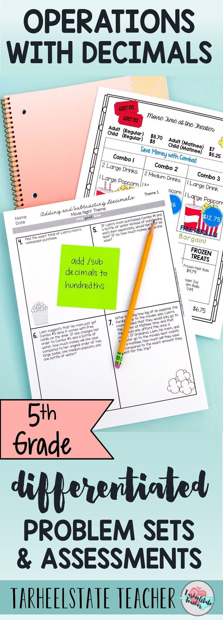 Differentiation for your adding and subtracting decimals unit will be so easy with these add/subtract word problems for 5th grade common core standards. With these differentiated, leveled, standards-based assessments or practice sheets, your students will be doing MORE THAN WORKSHEETS while developing their #growthmindset in math. #differentiatedmathideas. Includes multiplying and dividing decimals word problems and computation sets.