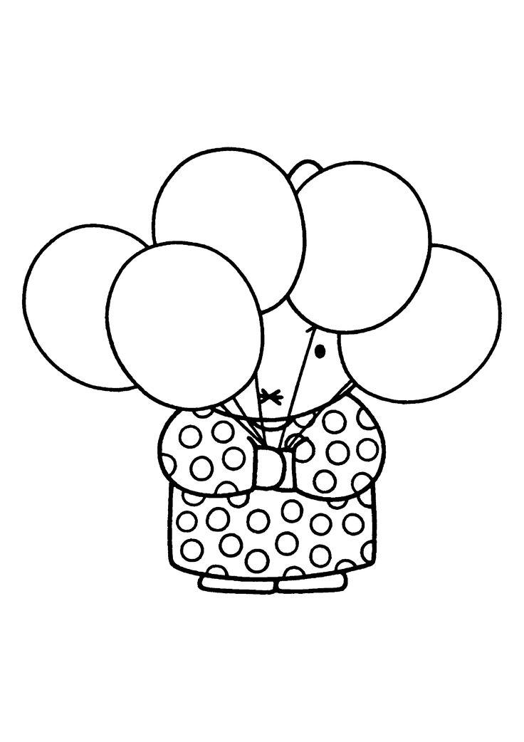 Nijntje kleurplaat Miffy Coloring Pages ballonnen