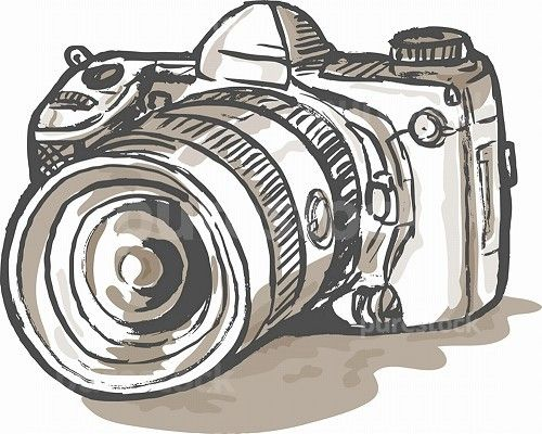 hand sketch drawing illustration of a digital SLR camera. drawing of a digital SLR camera