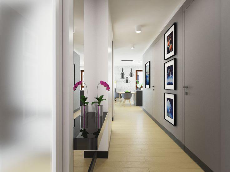 Corridor design apartment 64m2.  Warsaw, Poland. www.artandarchitecture.pl