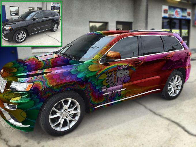 A Jeep Grand Cherokee With A Rainbow And Unicorn Theme