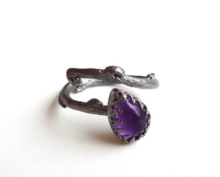 Amethyst Branch Ring - February Birthstone Adjustable Ring - Black Platinum Plated Sterling Silver Ring