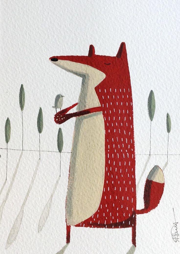illustration carte renard