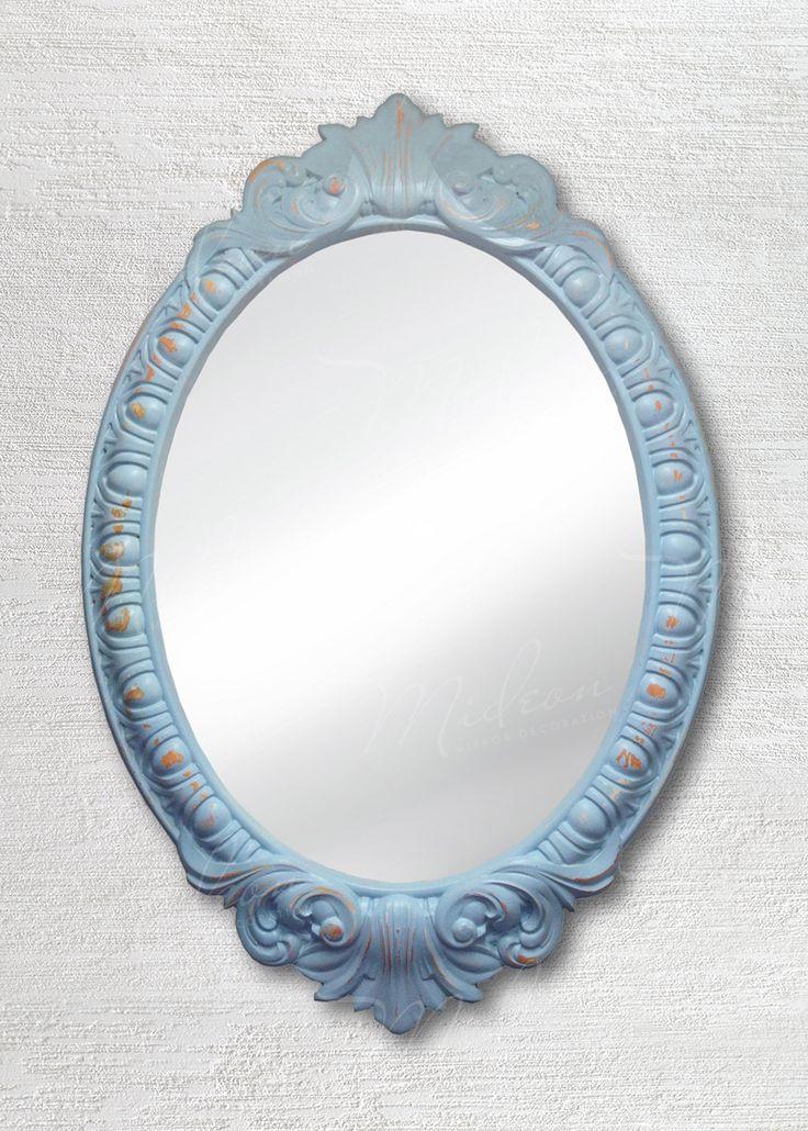 Овальное зеркало в раме «Веницианское» Голубой Шебби-шик