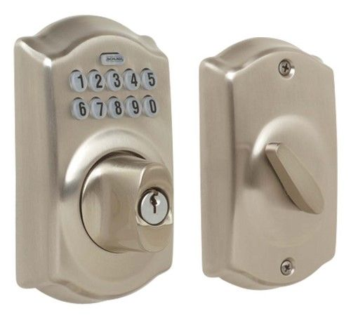 Schlage BE365VCAM619 Satin Nickel Camelot Keypad Deadbolt | Jet.com