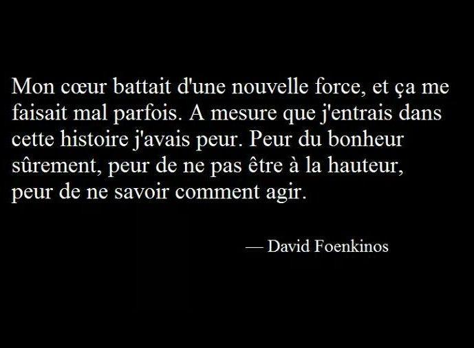 """""""Mon cœur battait d'une nouvelle force, et ça me faisait mal parfois. À mesure que j'entrais dans cette histoire j'avais peur. Peur du bonheur sûrement, peur de ne pas être à la hauteur, peur de ne savoir comment agir."""" - David Foenkinos"""
