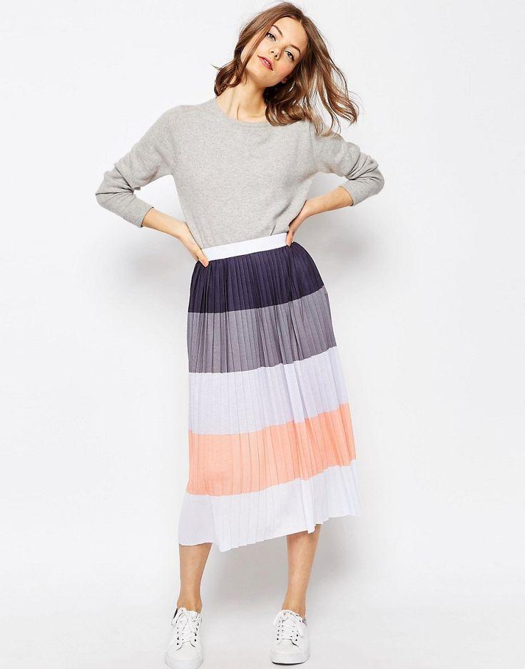ASOS Pleated Midi Skirt in Color Block