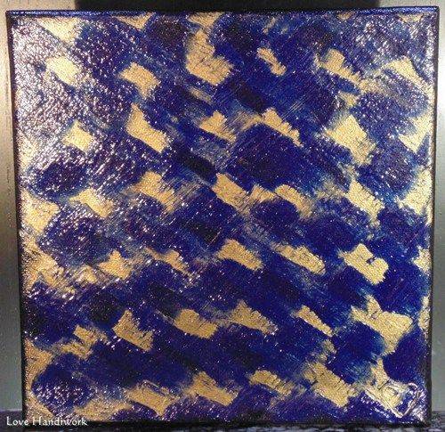 "Love 4 - BLUE & BRONZE ABSTRACT 8""x8"" Square Painting, Art"