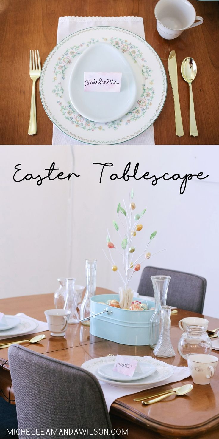 I love tablescapes, so I wanted to create one for Easter that was pretty and seasonal but not overdone. I love how my simple Easter tablescape turned out!