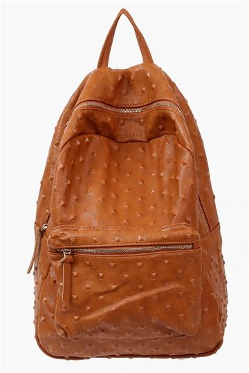 Simple Stud Backpack in Brown