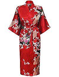 Cityoung-Kimono Japonais en Satin Sexy Robe de Chambre 1/2 Manches Peignoir-Femme