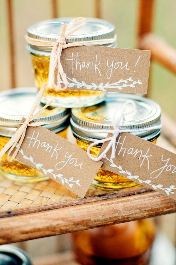 handmade honey jars with thank you labels #weddingfavors http://www.weddingchicks.com/2013/11/22/van-gogh-inspired-wedding-ideas/
