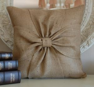 Burlap pillow with bows by johnnie