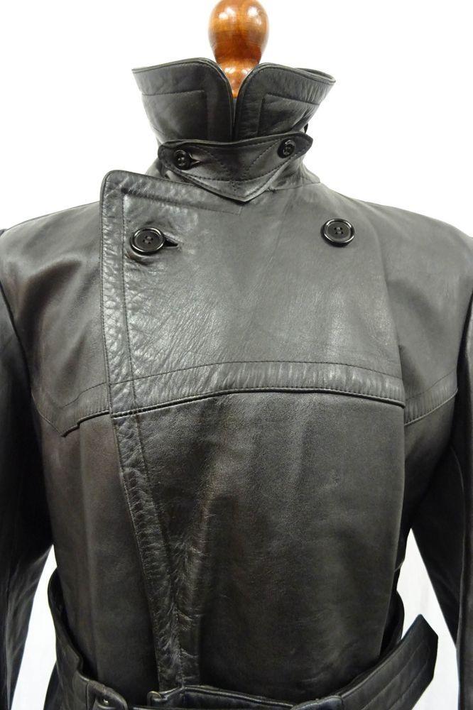 e490ce4cc Original WW2 German Gestapo Horsehide Black Leather Trench Coat SIZE ...