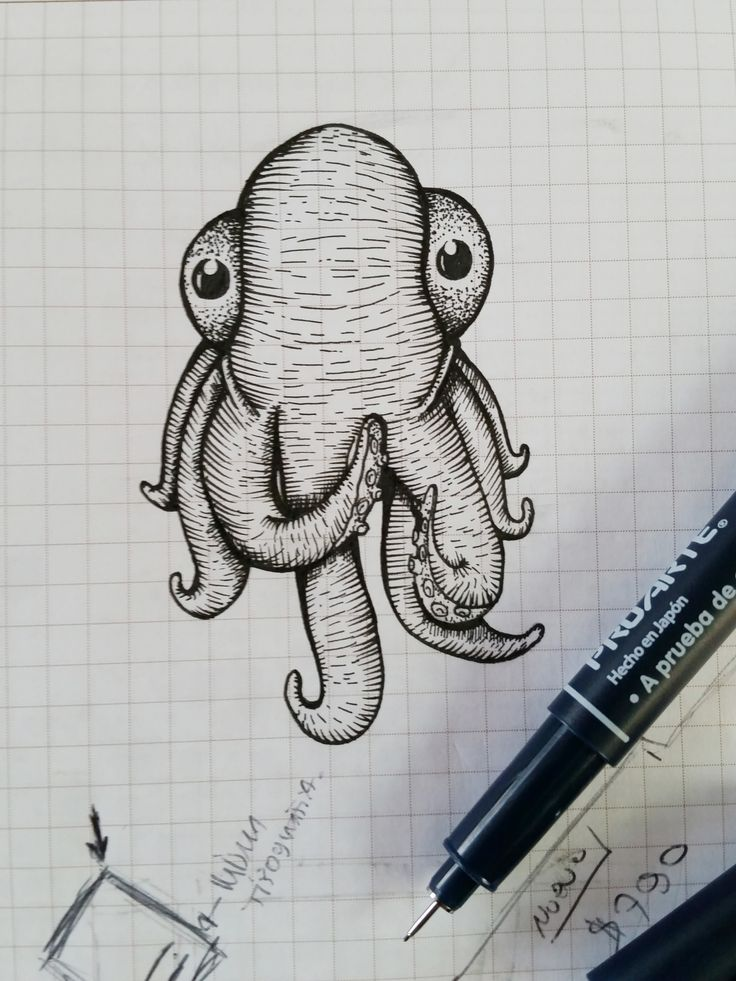 Dibujo in the job.  #Tiralinea #ink #Ilustration #Octopus