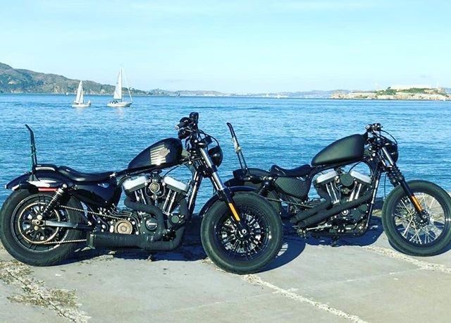 Fraternal Twin Sportys - Out for a ride!  #Harley #Sportster #DKCustom #Outlaw #Intake #EBS #TankLift #CoilRelo #LED #MotorcycleDreams #SFB #HarleyLife #lifebehindbars #bikerlife #Custom #Bobber #Cafe #Chopper #Bagger  #idratherberiding