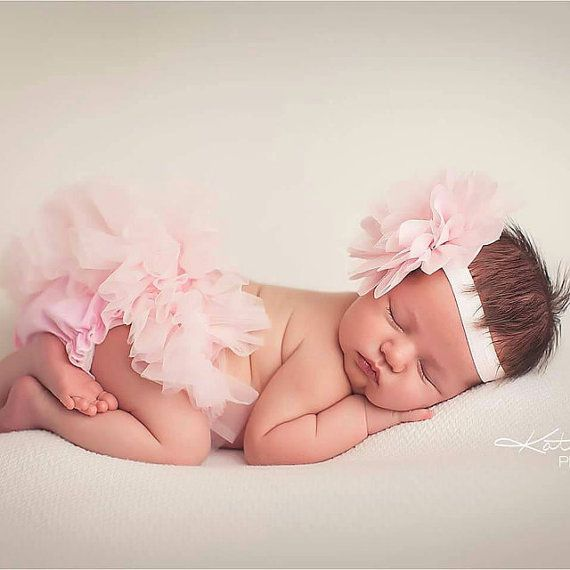 This listing is for a Ruffle Bottom Tutu Bloomer & Headband Set in Light Pink. P… – Baby
